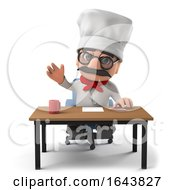 3d Funny Cartoon Italian Pizza Chef Character At His Desk by Steve Young