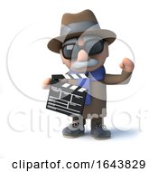 Poster, Art Print Of 3d Cartoon Blind Man Characte Is Making A Movie