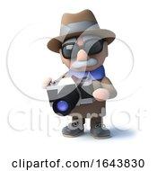 Poster, Art Print Of 3d Cartoon Old Blind Mancharacter Holding A Camera