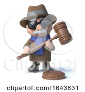 Poster, Art Print Of 3d Cartoon Blind Man Has An Auctioneers Gavel In His Hand