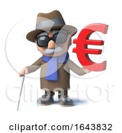 3d Funny Cartoon Old Blind Man Character Has A Euro Currency Symbol