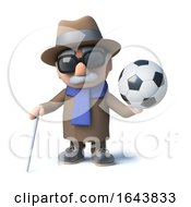 Poster, Art Print Of 3d Funny Cartoon Old Blind Man Character Holding A Football