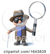 Poster, Art Print Of 3d Blind Man Holding A Magnifying Glass