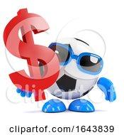3d Football Dude Has US Dollars