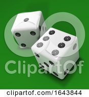 3d Two White Dice On Green Background