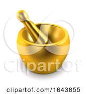 3d Gold Pestle And Mortar
