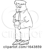 Cartoon Black And White Young Business Man Checking His Cell Phone