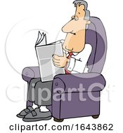 Cartoon White Businessman Reading A Newspaper In A Chair