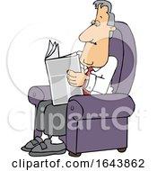 Cartoon White Businessman Reading A Newspaper In A Chair