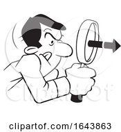 Cartoon Black And White Man Peering Through A Magnifying Glass