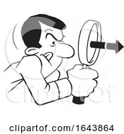 Cartoon Lineart Black Man Peering Through A Magnifying Glass