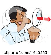 Cartoon Black Man Peering Through A Magnifying Glass