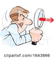 Cartoon White Man Peering Through A Magnifying Glass