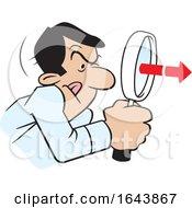 Cartoon Hispanic Man Peering Through A Magnifying Glass