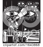 Black And White Woodcut Astronomer And Eyes