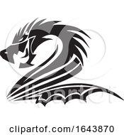 Poster, Art Print Of Black And White Dragon Tattoo Design