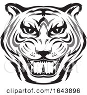 Black And White Tiger Face Tattoo Design