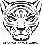 Black And White Tiger Face Tattoo Design by Morphart Creations