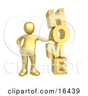 Gold Person Leaning Against The Vertical Word HOME Clipart Illustration Graphic
