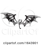 Black And White Tribal Scorpion With Bat Wings Tattoo Design