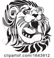 Black And White Lion Face Tattoo Design