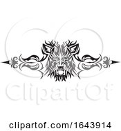 Black And White Lion Face Tribal Tattoo Design