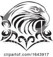 Black And White Eagle Face Tattoo Design