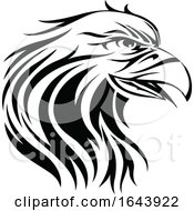 Black And White Eagle Face Tattoo Design