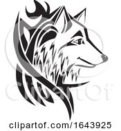 Black And White Wolf Tattoo Design by Morphart Creations