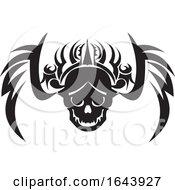 Poster, Art Print Of Black And White Tribal Skull Tattoo Design