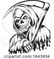 Poster, Art Print Of Black And White Grim Reaper Tattoo Design