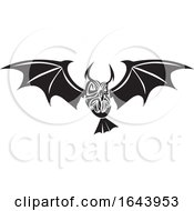 Black And White Owl With Bat Wings Tribal Tattoo Design by Morphart Creations