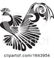 Black And White Peacock Tattoo Design