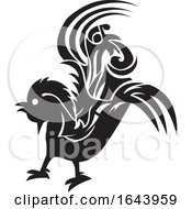 Poster, Art Print Of Black And White Rooster Tattoo Design