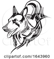 Black And White German Shepherd Dog Tattoo Design by Morphart Creations