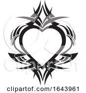 Poster, Art Print Of Black And White Tribal Heart Tattoo Design