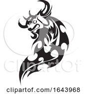 Black And White Tribal Bull Tattoo Design