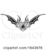 Black And White Bat Wing Tribal Tattoo Design by Morphart Creations