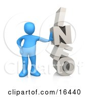Blue Person Leaning Against The Word INFO Clipart Illustration Graphic by 3poD