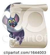 Poster, Art Print Of Halloween Vampire Bat Cartoon Character Scroll