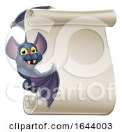 Halloween Vampire Bat Cartoon Character Scroll by AtStockIllustration