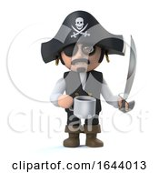 3d Cute Pirate Captain Is Taking A Coffee Break