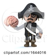 3d Funny Cartoon Pirate Captain Character Holding A Human Brain