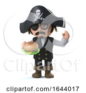 3d Cute Pirate Captain Eats A Cheese Burger
