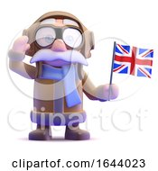 3d Pilot Waves The Union Jack by Steve Young