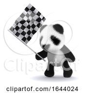3d Baby Panda Bear Waves The Checkered Flag by Steve Young