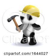 Poster, Art Print Of 3d Baby Panda Bear Working Construction With Hammer