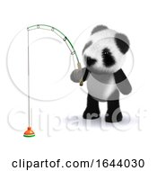 3d Baby Panda Bear Is Fishing