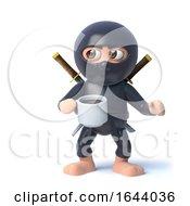 3d Funny Cartoon Ninja Warrior Assassin Character Has A Tea Break