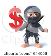 3d Funny Cartoon Ninja Assassin Character Has US Dollar Currency Symbol